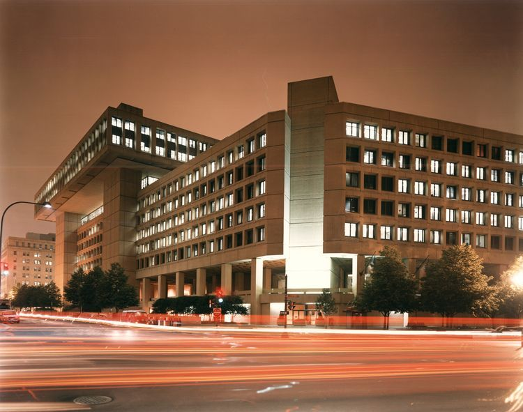 FBI Headquarters at night