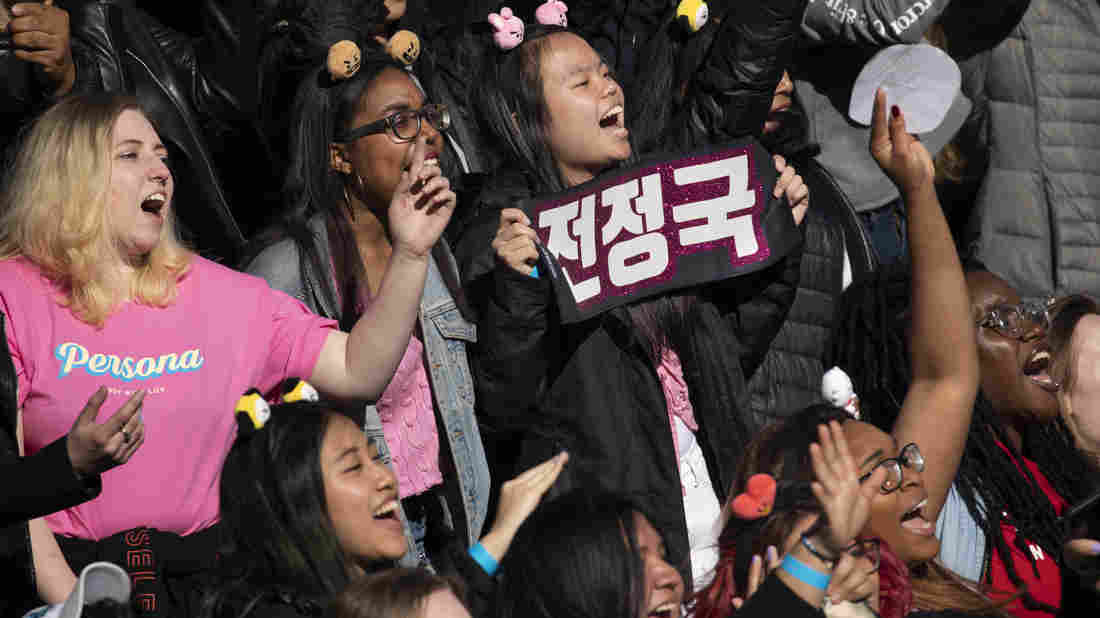 K-pop fans in Central Park on May 15, 2019 in New York.