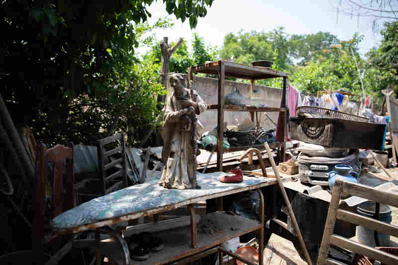 In the weeks since returning after the floods of the 2020 hurricanes Eta and Iota, the Ramos family collected the muddied up detritus of the homestead in the yard.