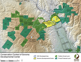 Shown in yellow, the Sonoma Developmental Center property represents a key potential link among other public and protected lands nearby.